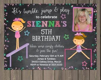 Gymnastics Birthday Invitation, Girls Gymnastics Party Invite, Chalkboard Birthday Invitation, Tumbling Party, Photo Invitation