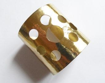 openwork gold cuff bracelet