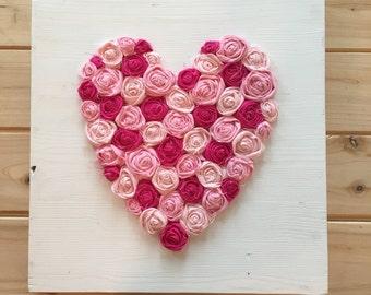 heart sign, rosette heart, flower heart, shabby chic nursery, girl bedroom, pink heart,