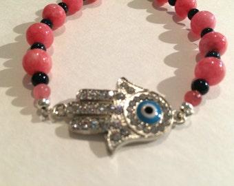Coral Glass Hamsa/EvilEye Bracelet