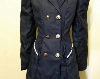 Dark Navy Blue Steampunk Neo-victorian Poofy Sleeve Jacket! Size XL