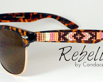Beaded Sunglasses Gold Love brown