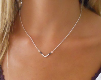 Silver V Pendant Necklace, Triangle Necklace, Sterling Silver Necklace, Silver Layering Necklace, Silver Beads Necklace, Hematite Beads