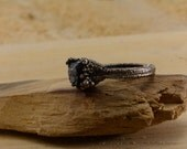 Black Tourmaline Electroformed Silver Plated Copper Ring, sealed wont turn finger green, Size 9.5
