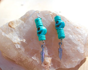 Turqouise Skull Feather Charm Earrings