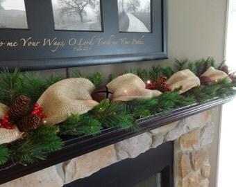 Christmas Decorations, Mantle Garland, Christmas Garland, Staircase Garland, Pine Garland, Burlap Garland, Christmas Mantle