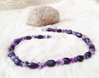 Amethyst beaded necklace. February birthstone.  Gemstone nuggets necklace with silver plated links. Amethyst jewellery