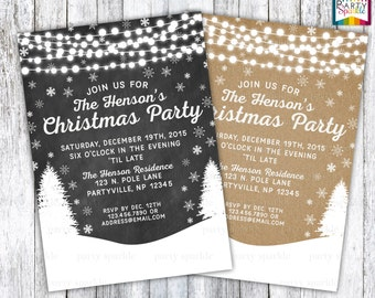 Kraft Paper / Chalkboard Christmas Holiday Party Invitations Personalized - Digital Printable file 4x6 / 5x7 jpg / pdf