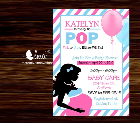ready to pop baby shower invitation pink and blue invitation