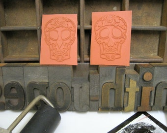 "Rubber Stamp Print Block Sugar Skull ""Comedy or Tragedy"" Mounted Repurposed Pallet Wood Rubber Stamping Block - Print Block - Printing Stamp"