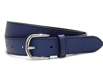 Leather belt marine blue women belt cow leather pebble grain belt real nappa leather jeans belt
