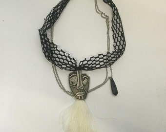 Tribal African Mask Mesh and Tassel Necklace