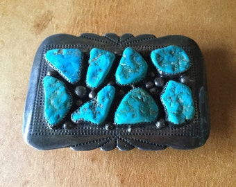 Native Zuni Indian Signed Sterling Silver and Azure Mine Turquoise Belt Buckle, Old Pawn