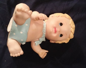 Vintage chalkware baby piggy bank. Plug included.