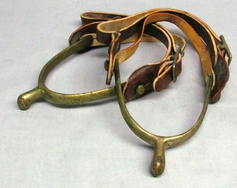 Vintage Brass Spurs w/Leather Straps Possibly Military, Western, or Equestrian Riding