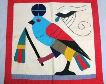 Egyptian Applique Bird With Flag By Tentmakers Handmade Textile Khayamiya Art