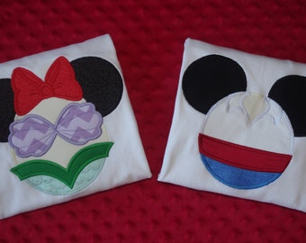 Ariel or Prince Eric- Disney Mickey Mouse Ears Appliquéd Shirts or Onesies-- Prince or Princess