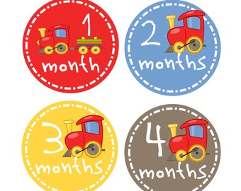 Train Boy Month Stickers, Set of 12 Growth Stickers, Baby Shower Gift