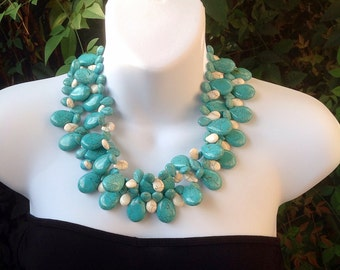 Chunky Turquoise Necklace. Turquoise. Turquoise teardrop necklace. Statement necklace. Double strand turquoise necklace.