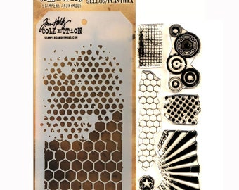 Tim Holtz Stamps and Stencils Set - BITTY GRUNGE Stampers anonymous THMM101 1-cc02