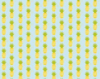 Riley Blake Fresh Market Pineapple in Aqua Fabric by Bella Blvd