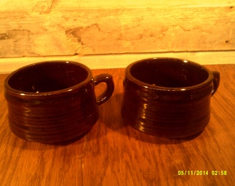 Two Vintage Brown Pottery Soup Mugs, Pottery Mugs, Brown Glaze Mugs, Soup Mugs, Large Soup Cup, Stew Mugs, Brown Pottery, Pottery Soup Cup