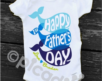 Happy First FATHERS DAY Onesie Fathers Day Gift from Baby Boy Personalized Whale Onesie 1st Fathers Day Onesie For Baby Boy or Toddler Boy