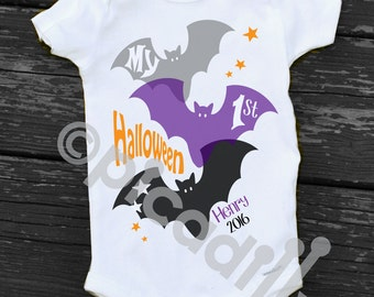 My First HALLOWEEN Bat Onesie Personalized for Baby's 1st Halloween for  Baby Boy or Toddler Boy in Short Sleeve or Long Sleeve