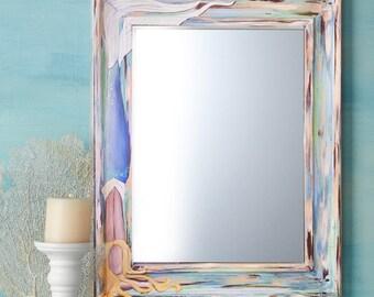 """Hand Painted Mermaid Mirror, Beach Mirror, Beach Decor, Beach House Art 22x28"""""""