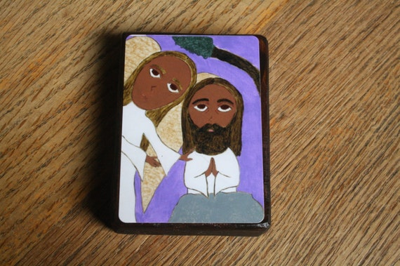 "2.5"" X 3.5"" Jesus in the Garden of Gethsemane Byzantine Folk style icon on wood by DL Sayles"