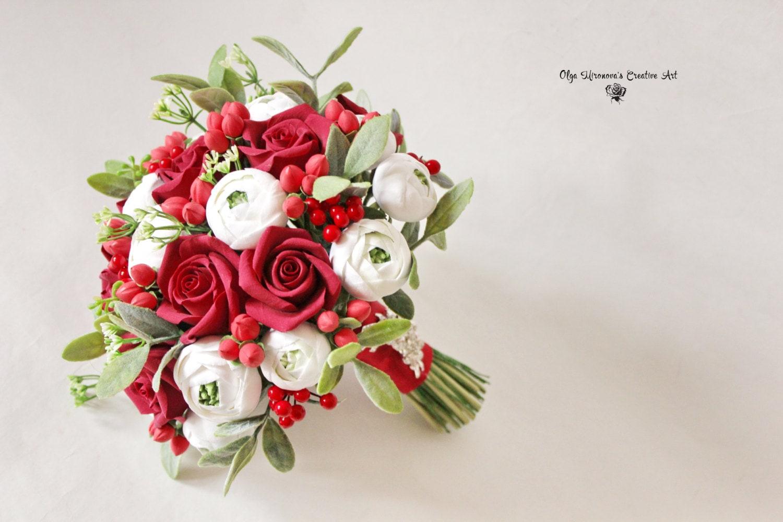 Red White Alternative Wedding Bouquet Bridal