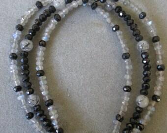 Sterling Silver Black Spinel, Labradorite & Tourmilated Quartz Beaded Bracelet