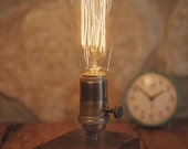Steampunk Table lamps - Wooden Table Lamp - Walnut - reclaimed wood - Edison bulb