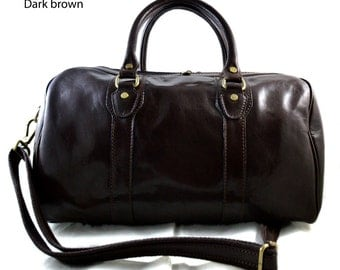 Leather duffle bag genuine leather travel bag overnight bag for men and women weekender leather cabin  bag made in Italy dark brown