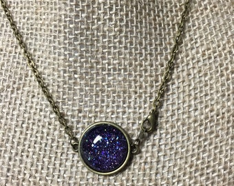 Night Sky Purple Glitter Pendant