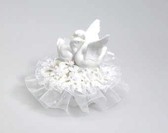 """double porcelain swans wedding anniversary cake top 6"""" tall decorated in white"""