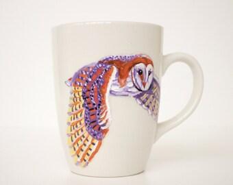 Hand Painted Teacup or Coffee Mug - Flying Owl - Woodland Animal - Original Painting