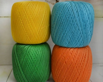 FOUR BALLS SET of crochet thread Size 10/ Set comes with size 7/ 1.30 mm crochet hook Gift !