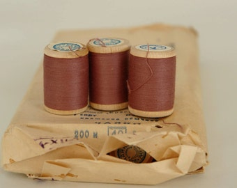 SALE -20% off, vintage thread spool, soviet spools, wooden spools, made in USSR, unused with labels, Scandinavian Fabric