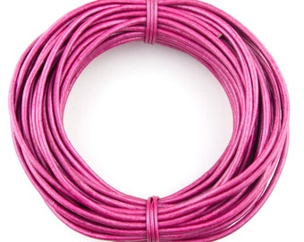 Pink Metallic Round Leather Cord 2mm 25 meters (27.34 yards)