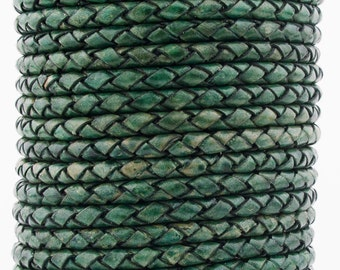 Green Natural Dye Genuine Round Bolo Braided Leather Cord 5 mm 1 Yard