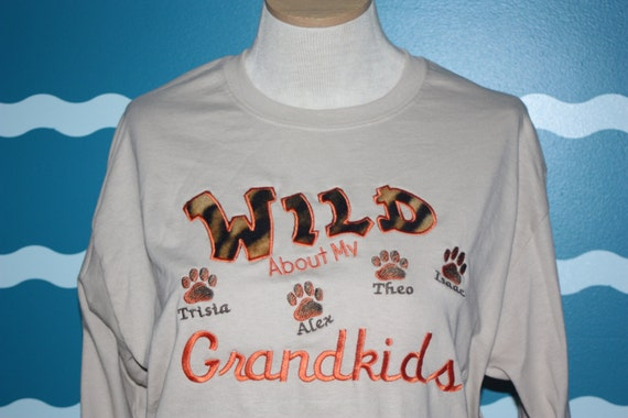 Grandparents long sleeve tshirt - Wild about my grandkids embroidered long sleeve tshirt - custom grandma t-shirt