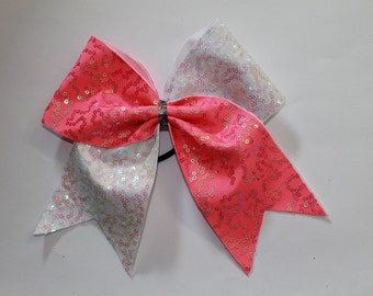 Cheer Bow Pink and White sequins