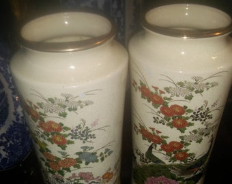 Pair Hand Painted Japanese Gold Imari Vases