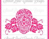 Sugar skull,Day Of The Dead Lace and roses mexican skull cake topper stencil  ! - BY Stencil Land Canada (stencilland)