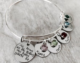As long as I'm living my baby you'll be personalized bracelet with childrens names and birthstones mothers day gift new mom grandma custom