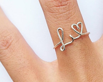 Silver L and Heart Ring, Gold M Ring, Custom Initial Ring in Rose Gold, Rose Gold Love Ring, Bridesmaids Gifts, Wedding Favor