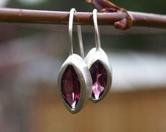 Marquise garnet earrings , garnet drop earrings