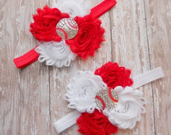 Baby Headband, Baseball headband, Baby Girl Headband, Newborn Headband, Red Headband, White headband, Team headband, Sports headband, Cute