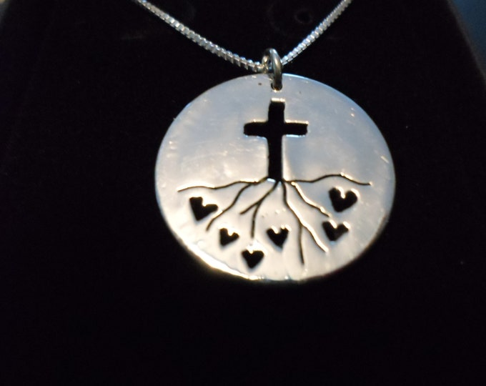 "Rooted in Love w/cross Quarter size w/18"" sterling silver chain"